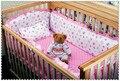 Promoción! 6 unids kit Pink berco cuna cuna juegos de cama bordada ( bumpers + hojas + almohada cubre )