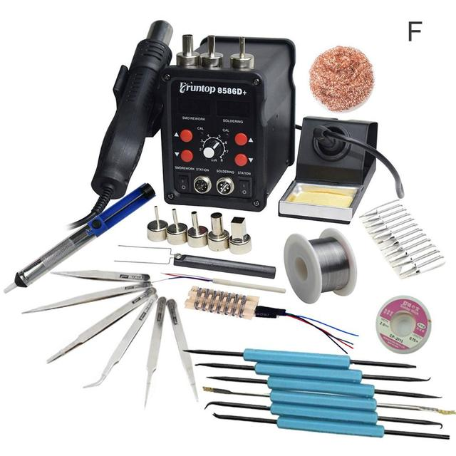 Eruntop 8586D+ Double Digital Display  Electric Soldering Irons +Hot Air Gun Better SMD Rework Station Upgraded 8586
