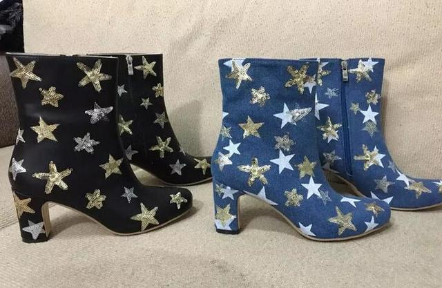 Top Quality Cowboy Women High Heel Boots Bling Embellished Denim Ankle Stiletto Zipper Boots Casual Autumn Low Heel Leathe Shoes