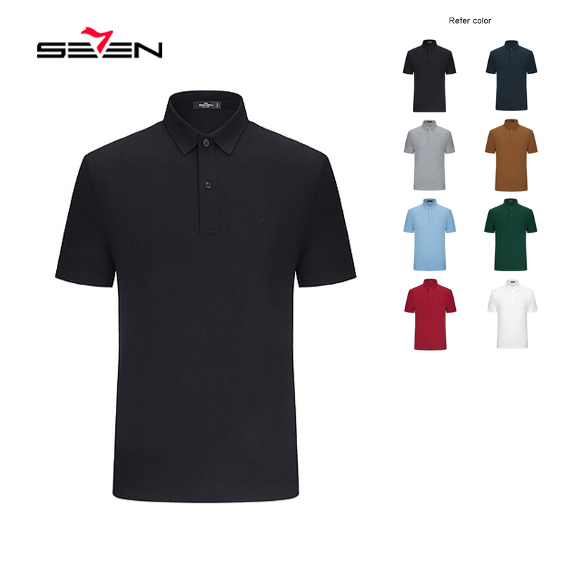 Seven Summer Plus size men short sleeve   polos   Men's High quality Business Casual solid Short Sleeve Breathable   Polos   116T58270