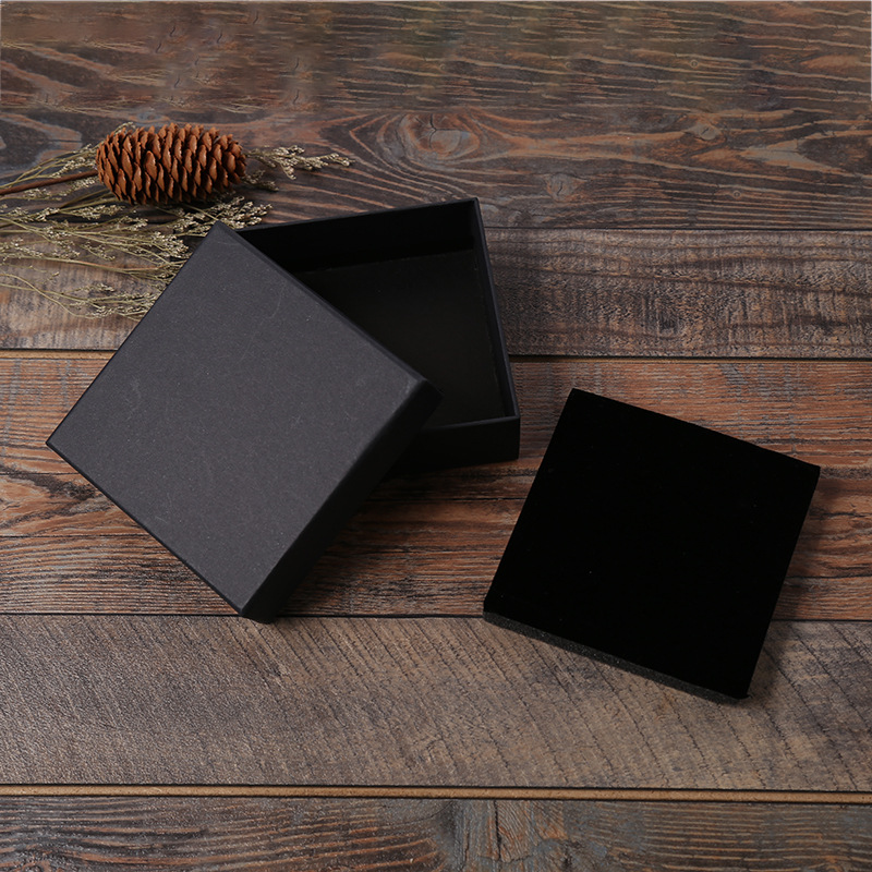 Wholesale 12 Pcs/Lot Black Kraft Paper Jewelry Box Bracelet Bangles Necklaces Rings Box Christmas Gift Jewelry Box Dropshipping