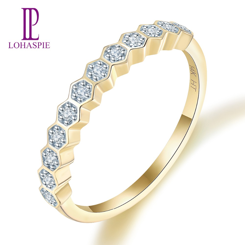 Natural Diamond 14K Yellow Gold Wedding Ring AU585 Eternity Engagement Marriage Rings for Women Bridal Valentine's Best Gift