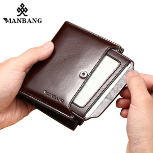 Image 4 - ManBang Genuine Leather Men Wallets Fashion Trifold Wallet Zip Coin Pocket Purse Cowhide Leather man wallet high quality