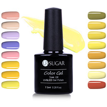 GULA UR 7.5ml Rendam Off UV Gel Polish Kuning Seri Warna Murni Nail Art Gel Polish 617-632
