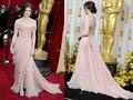 Dae1858 frete grátis Real Pictures Oscar Red Carpet moda Shoulder Off Classical frente Slit rosa Chiffon vestido