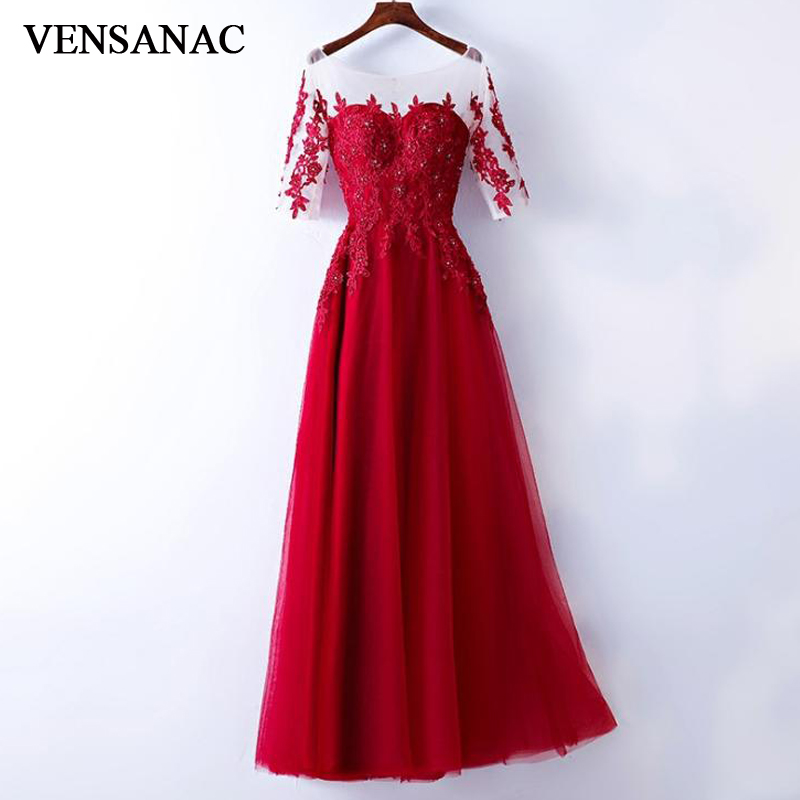 VENSANAC 2018 O Neck Crystal Appliques A Line Long   Evening     Dresses   Elegant Lace Half Sleeve Backless Party Prom Gowns