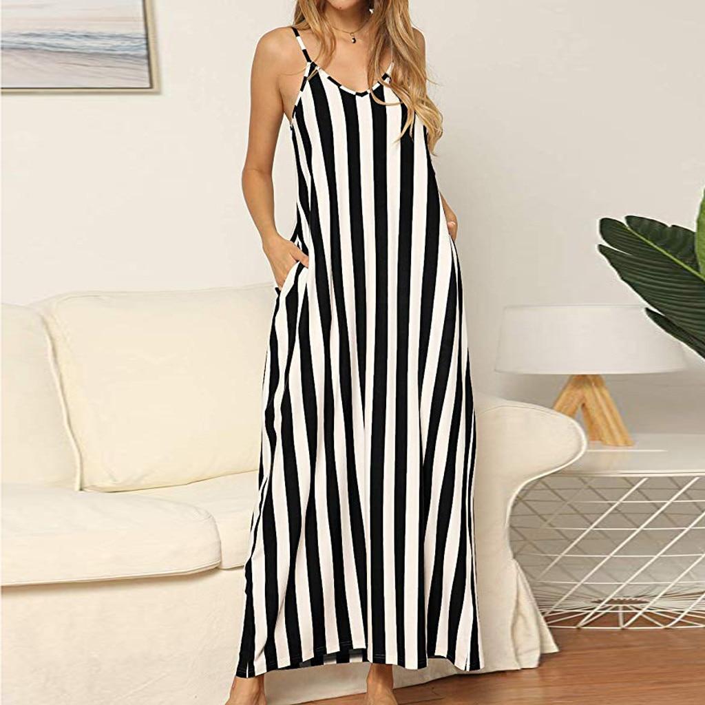 2019 Dress Women Summer Green Maxi Dress Loose Flowy Striped Pockets Long Maxi Dress Sundress Z4