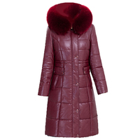 Women Winter PU Medium Long Jacket Parkas 2017 New Ladies Large Fur Collar Hooded Warm Cotton