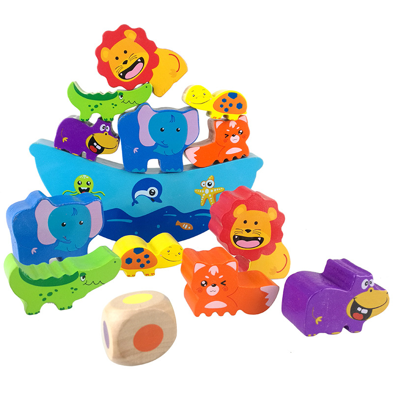 Baby Wooden Toy Educational animal Balancing Blocks Game Montessori  Gift For Child early education toys 14pcs cute falling tumbling monkeys blocks toy board game kids balancing training toys parenting family game blocks toy