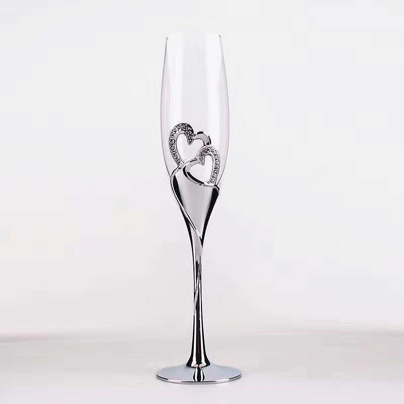 New Heart Shape Sliver Champagne Flutes Wedding Toasting Glassware