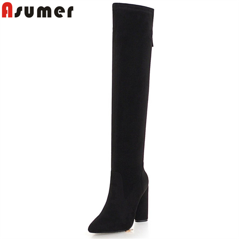 ASUMER plus size 33-46 fashion autumn winter boots women pointed toe zip flock over the knee boots thick high heels boots ladies memunia over the knee boots for women autumn winter zip high heels shoes fashion womens boots pointed toe big size 34 43