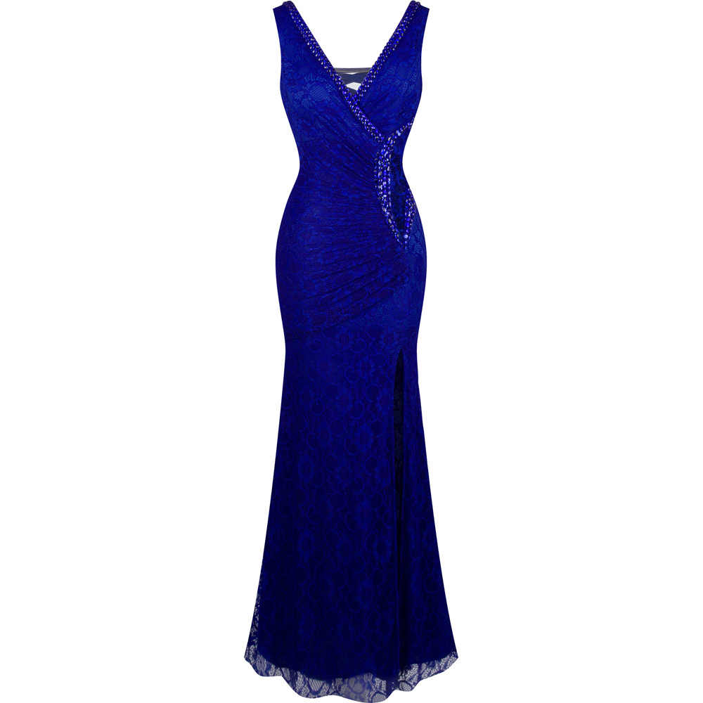 Angel-fashions Women's V Neck Pleated Beading Lace Sheath Dresses Mother of Bride Dresses See Through Blue Red 232