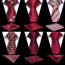 Men Tie Necktie Pocket Square Classic Party Wedding Fashion Striped Polka Dot 3Silk Woven Handkerchief Set