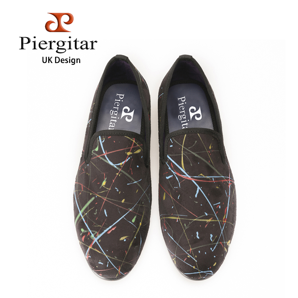 PIERGITAR New style Velvet Shoes with graffiti print men's flats Prom and Banquet dress shoes Handmade men loafers SIZE US 4-14 piergitar 2016 new india handmade luxurious embroidery men velvet shoes men dress shoes banquet and prom male plus size loafers