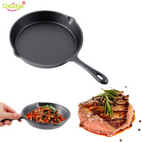 Delidge 1 PC 25 CM Steak Frying Pan Cast Iron Non Stick Different Sizes Barbecue Pork Chop Cooking Skillet Kitchen Tools