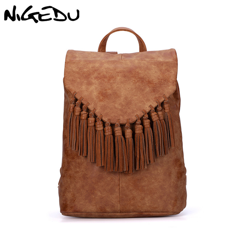 NIGEDU Large Genuine Leather Backpacks For Women And Girls School Bag Tassel Female Backpack Designer Casual Cowhide Travel Bag zency genuine leather backpacks female girls women backpack top layer cowhide school bag gray black pink purple black color