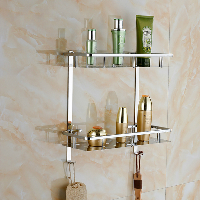 Modern 2 Layer Polished Bathroom Shelves Sus304 Stainless Steel Chrome Cosmetic Shelf Holder Products