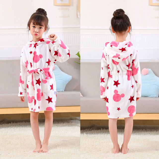 Free Shipping Kids Robes Flannel Child Boys Girls Robes Lovely Animal  Hooded Bath Robes Long Sleeve Baby Bathrobe Child Clothing 0c03db9a4
