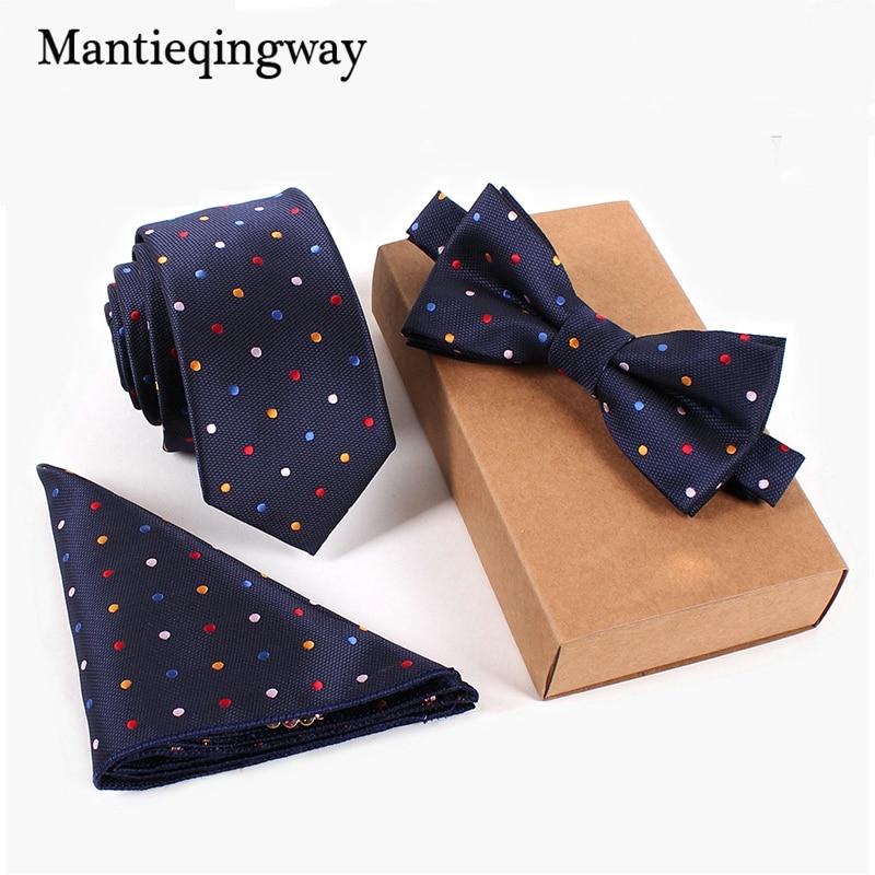 Mantieqingway Schlank Krawatten Set Männer Fliege & Taschentuch Bowtie Krawatte Cravate Homme Noeud Papillon Corbatas Hombre Pajarita Krawatten