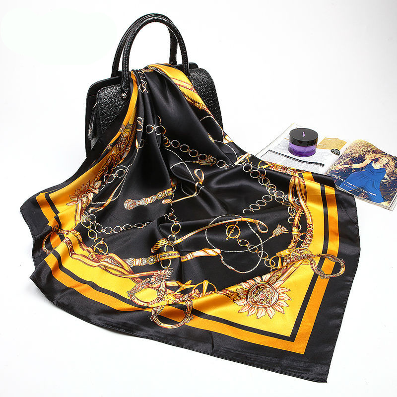 Fashion Black Striped   Scarf   Women Satin Hijab Shawl Female Foulard Vintage Summer Bandana Head   Scarves   Square   Wraps   90x90cm
