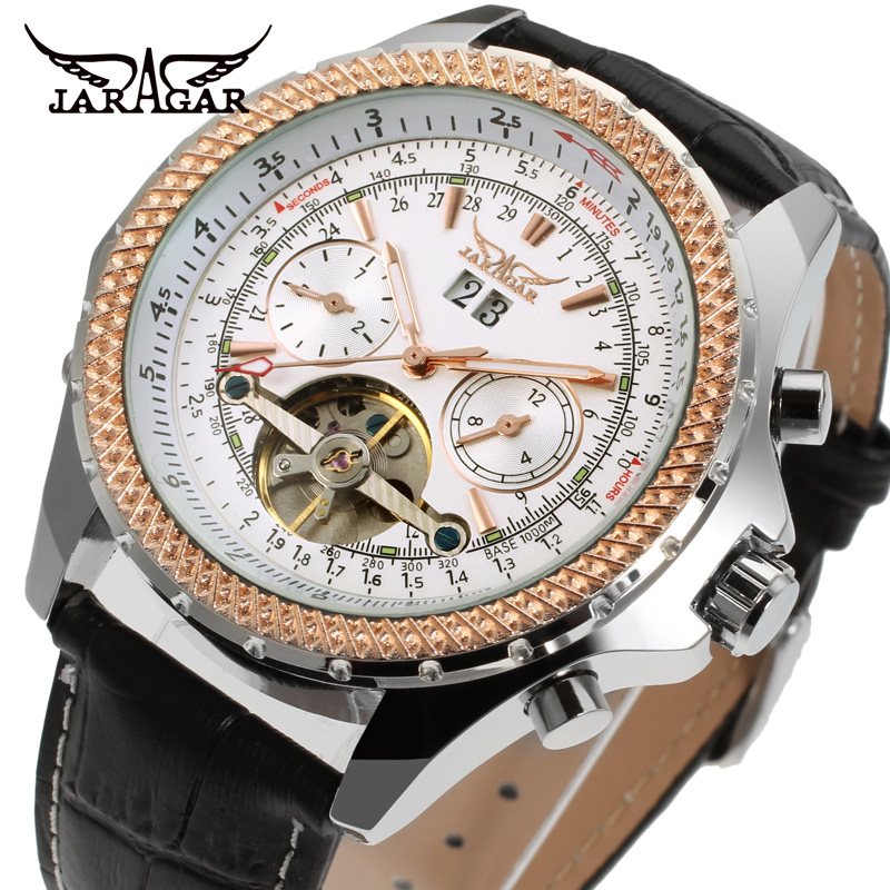 JARAGAR Mens New Arrival Watches Classic Factory Shop Top Quality Automatic Self-winding Calendar Leather Watches JAG070M3T2