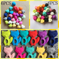 Master DIY silicone teething necklace Food grade Little fox + Hexagon beads + Heart beads Chewing Necklaces Teethers