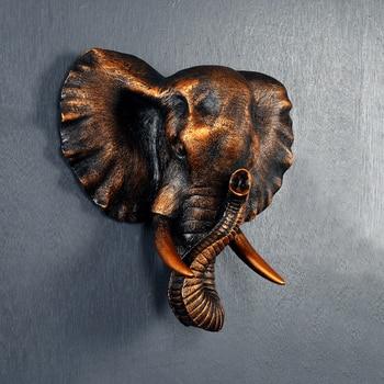 Art Creative animal mural wall European living elephant head wall Pendant Zhaocai retro style decor stereo poppy flower
