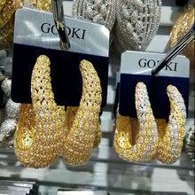 GODKI lüks büyük geometri moda renkli kübik zirkonya nişan parti avize damla küpe takı kadınlar için