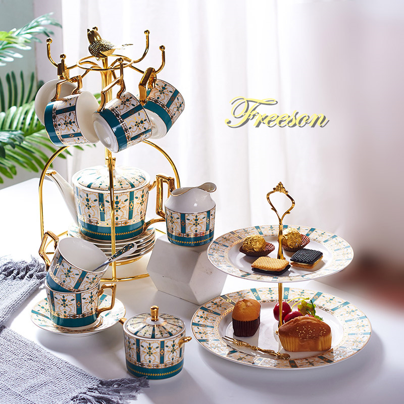Luxury Gold Bone China Coffee Set Nordic Porcelain Tea Set Advanced Pot Cup Ceramic Mug Sugar Bowl Creamer Teapot Milk Jug