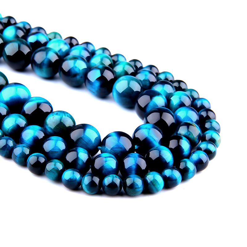 3e795b8814b9 VINSWET Natural Gem Stone Royal Blue Tiger Eye Round Beads 4 6 8 10 12 MM