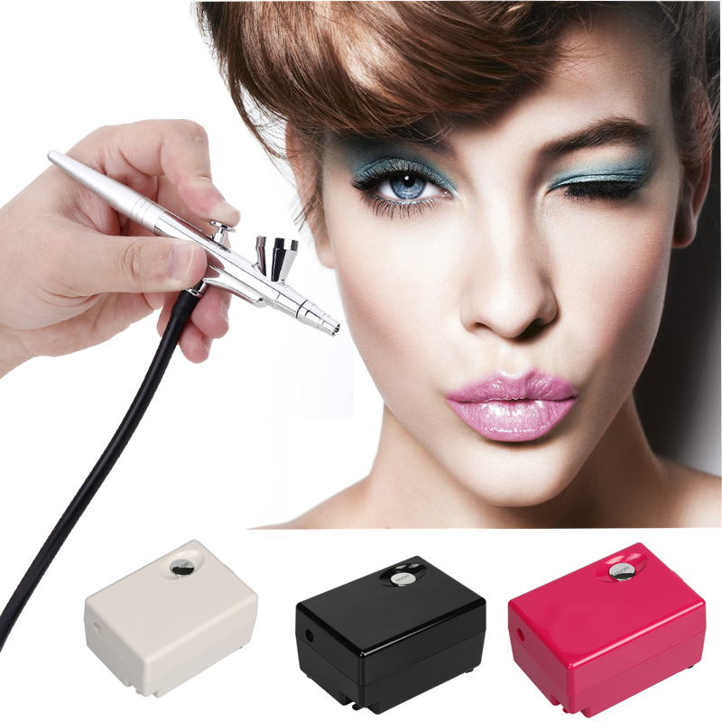 Airbrush FREE SHIPPING High Quality Airbrush Compressor Kit Portable Spray Make Up Cake Decorating For Nail