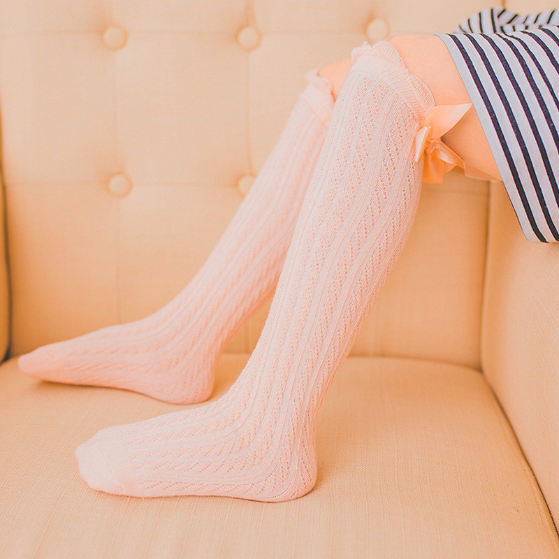 Lace Socks Baby Sock Girls Winter Solid Warm Knee High Socks With Bows Princess Cute Long Tube Kids Booties Vertical Striped