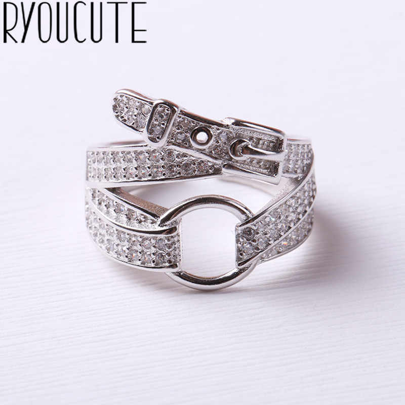 Bohemian New Silver 925 Belt Rings for Women Lady Punk Vintage Open Antique Rings Statement Sterling Silver Jewelry Anillos