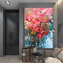 High quality professional artist Handmade Beautiful Color flower Abstract Oil Painting home Decoration Canvas
