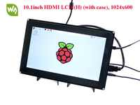 Waveshare Raspberry Pi 10.1inch HDMI LCD (H) 1024x600 Capacitive Touch Screen with case for Raspberry Pi &BB Black