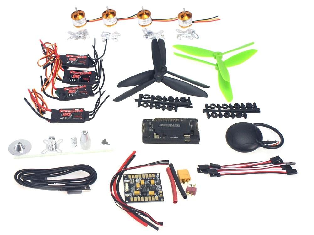 4 axes GPS Mini Drone hélicoptère pièces ARF kit de bricolage: GPS APM 2.8 commande de vol EMAX 20A ESC moteur Brushless