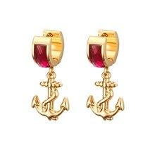 Новые настоящие модные каменные серьги-кольца Aros серьги-кольца для женщин золотой якорь из нержавеющей стали висячие серьги