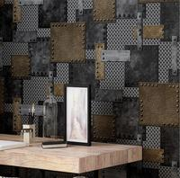 Beibehang 3D Retro Iron Industrial Wind Wallpaper Restaurant Clothing Shop Network Coffee Rivets Loft Engineering 3d