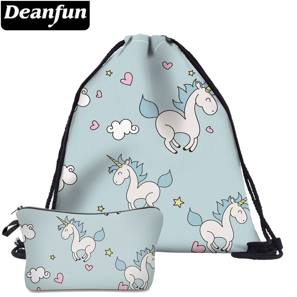 Deanfun 2Pc Unicorn Blue Drawstring Bags 3D Printing Cute For Girls School