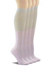 Женские нескользящие носки до колена из бамбука с бесшовным носком; 4 пары