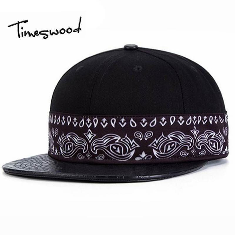 [TIMESWOOD] Fashion New Arrival Snapback Hat Bone Snap Back For Men Women Black Hip Hop Baseball Cap PU Straight Brim Floral Hat fashion snapback bone baseball cap gorra for women men chapeu hip hop casquette snap back masculino feminino strapback hat