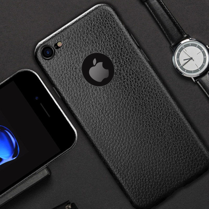 Dla iphone 7 plus iphone 7 case silicon ultracienkich tpu miękka skóra wzór case dla iphone 6 6s plus logo hole back cover czarny 5
