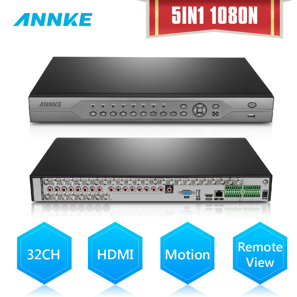 ANNKE 32CH HD 720P 1080N AHD/TVI/CVI/IP 5in1 HDMI DVR NVR Video Recorder CCTV Security System P2P Cloud Remote Review Function