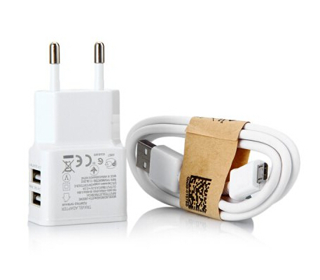 2 in 1 Dual USB Outputs Power Adapter EU Plug Chargs