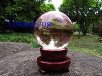 80mm pink k9 crystal solid glass globe ball with wooden base