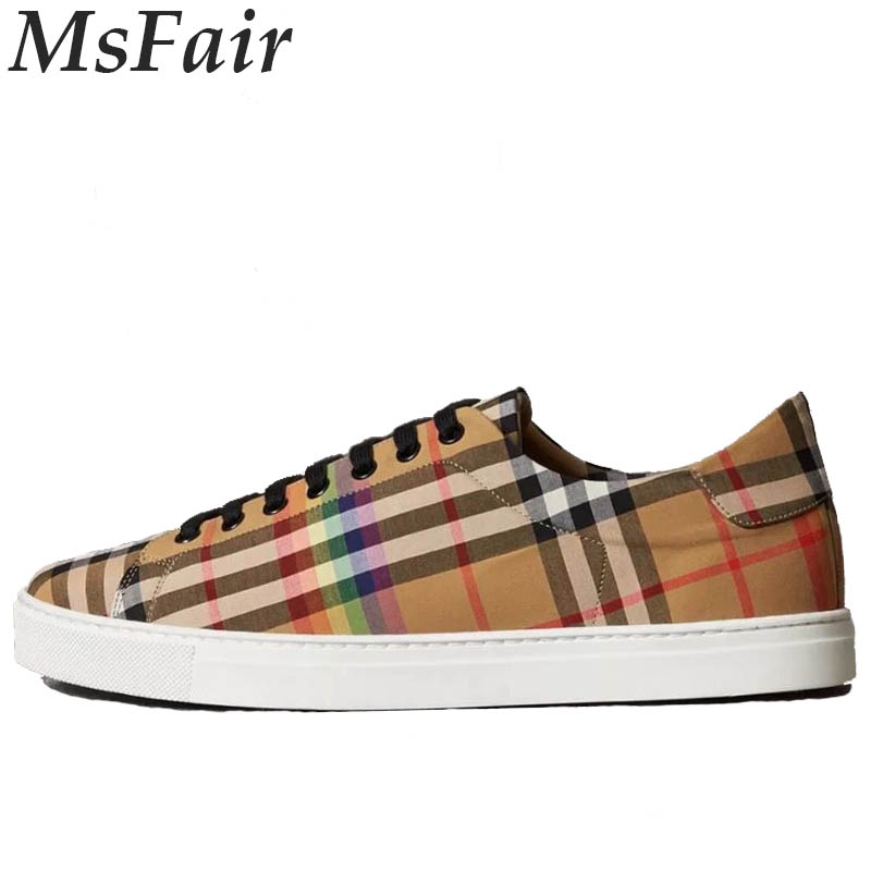 MSFAIR 2018 Women Skateboarding Shoes Sport Shoes For Men Outdoor Athletic Canvas Grid Stripe Walking Men Sneakers Flat With 5 pairs 1cm width british scotland plover grid style shoelaces canvas shoes sneakers flat shoes lace 70 80 90 100 110 120 130cm