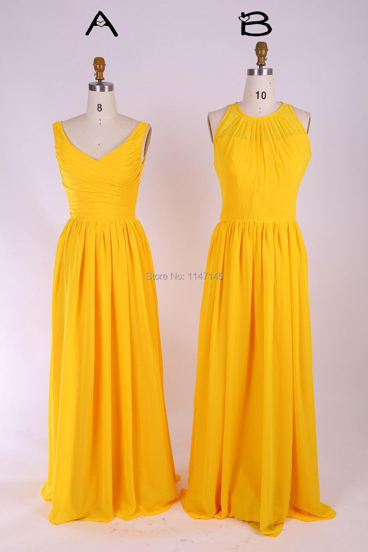 Online get cheap yellow dress for weddings aliexpress 2 styles yellow v neckamphigh neck long bridesmaid dress 2015chiffon bridesmaid ombrellifo Gallery
