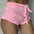 Las Nuevas Mujeres de terciopelo Elástico pantalones cortos ocasionales de cintura Alta 2017 otoño invierno sexy elegante flaco shorts Nigh Club de Desgaste