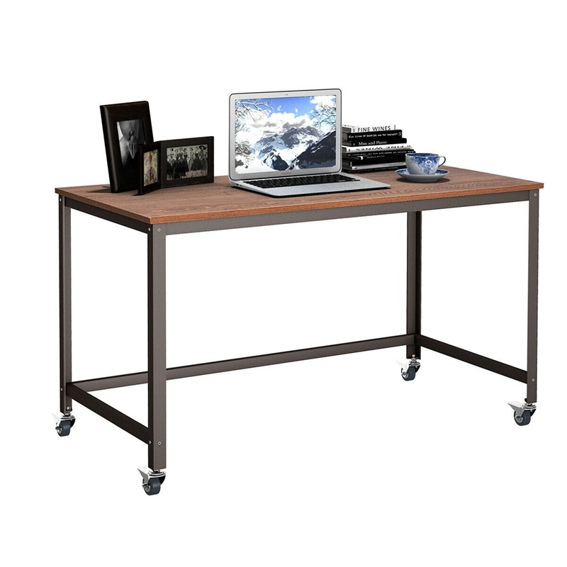 Wood Top Metal Frame Rolling Computer Desk Laptop Table With 4 Universal Wheels High-quality Particleboard Steel Pipe HW54475