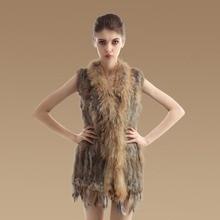 Gilet/waistcoat HOT top quality Hot Sale Retail/wholesale Raccoon Dog Fur Collar Trim Women Knitted Natural Rabbit Fur Vest
